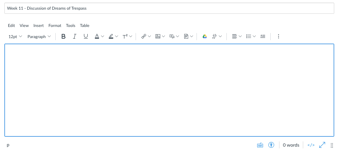 Screenshot of the Canvas Rich Content Editor interface