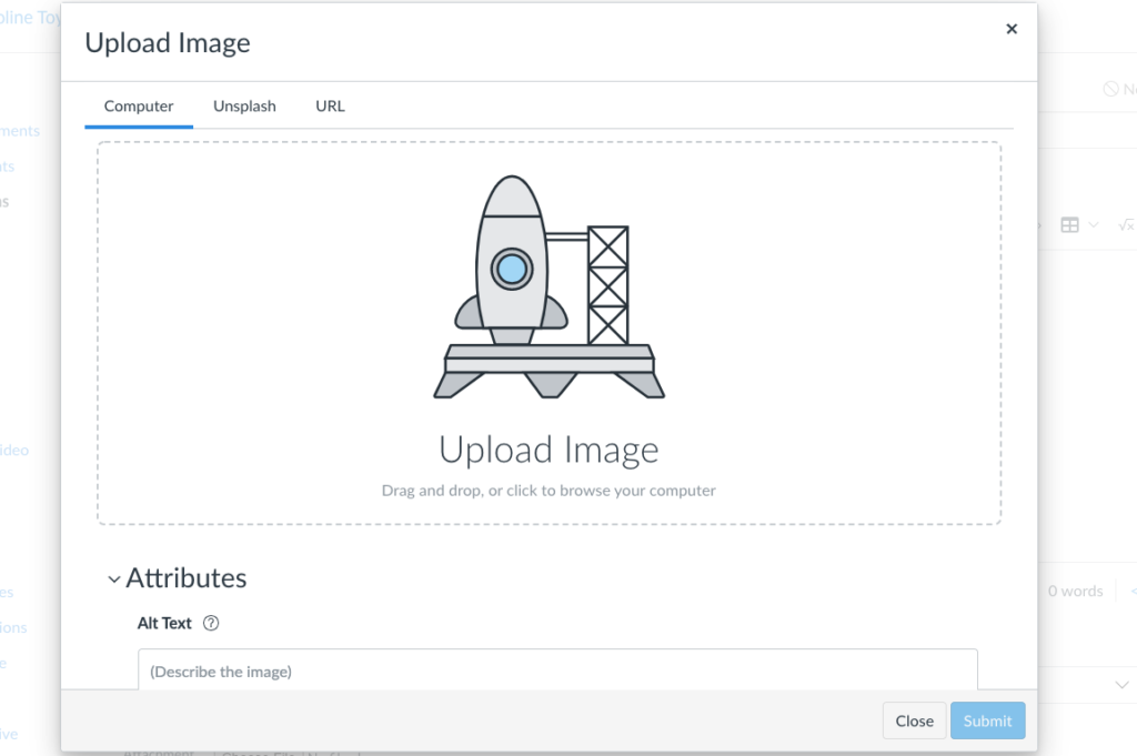 Screenshot of the image upload tool showing the options for uploading an image from the computer.