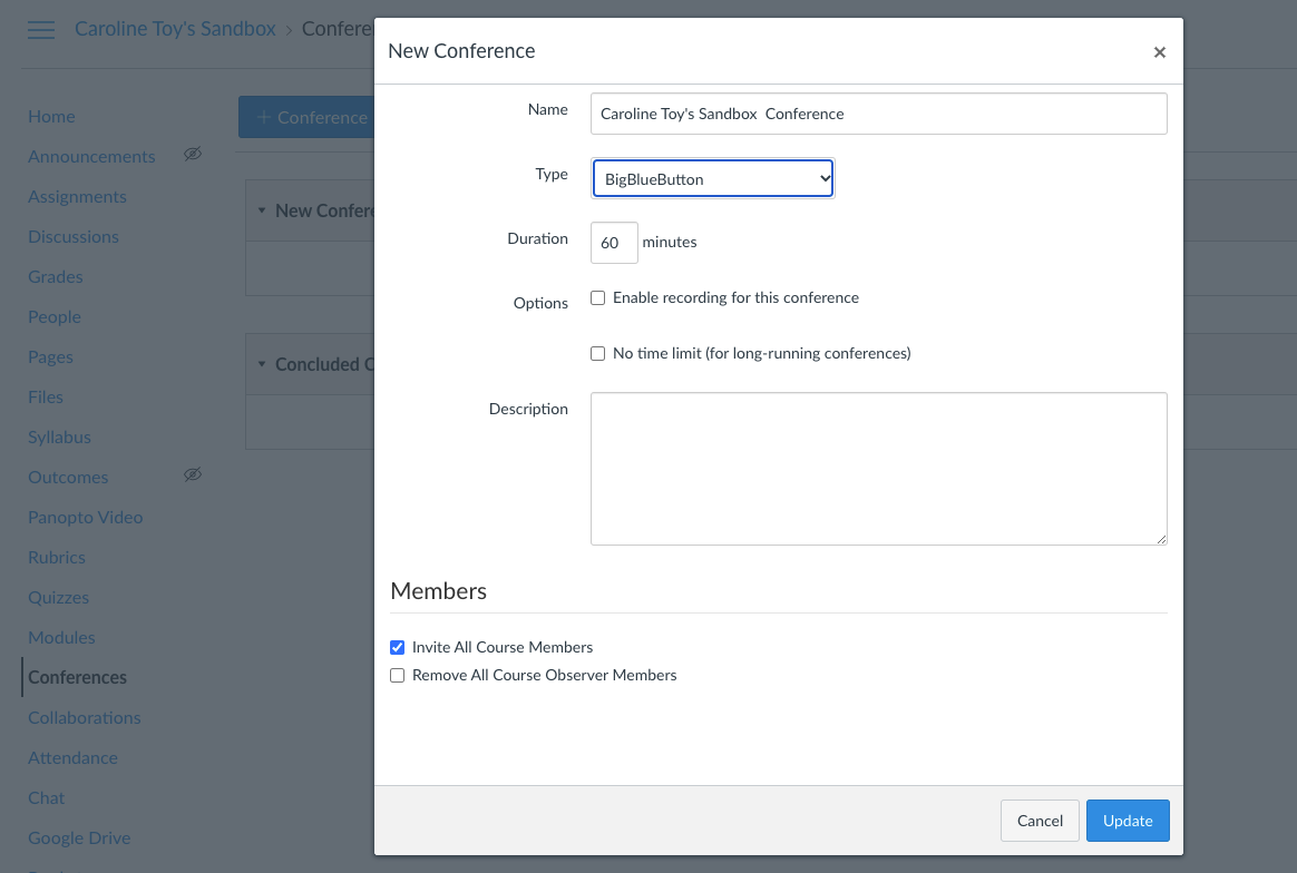 Screenshot of the Conferences creation menu, including options to name the conference, set a duration, enable recording, invite course members, and others.