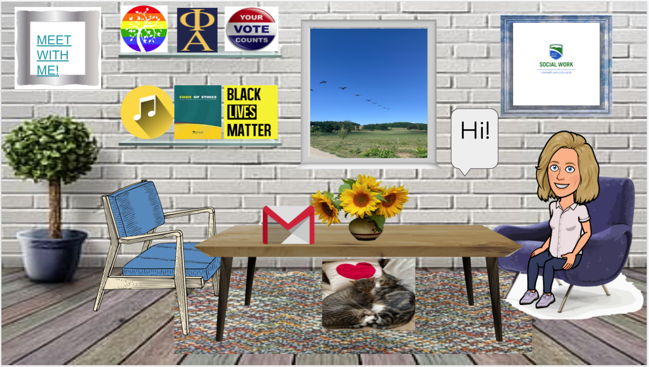 Screenshot of Dr. Tarn Foerg's virtual office, showing a bitmoji of Dr. Foerg in a white-brick space with various links and icons.