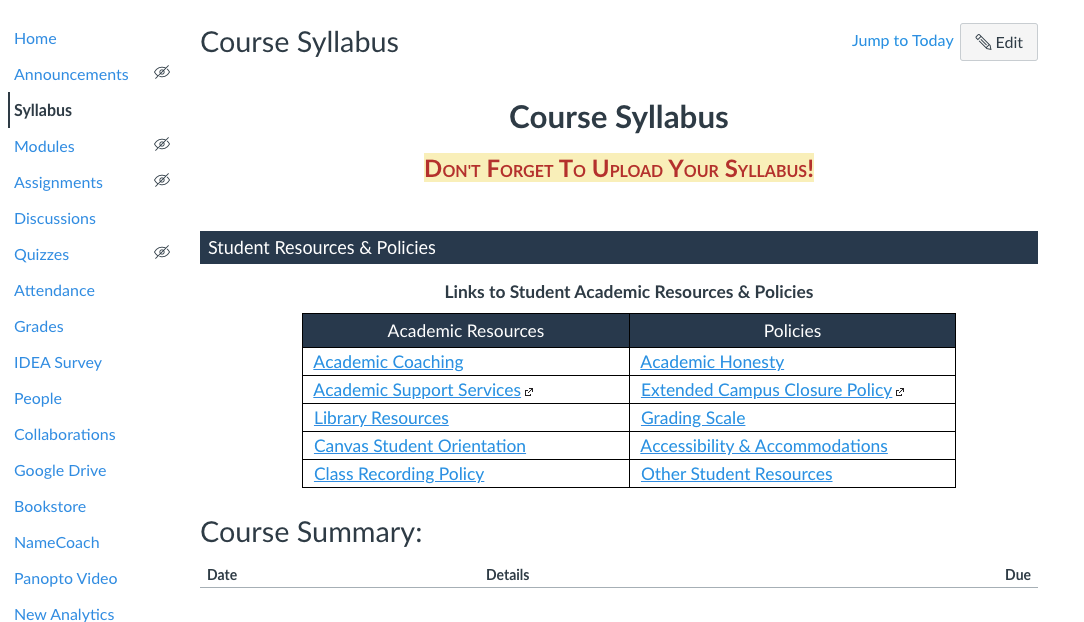 Empty syllabus page in Canvas with the generic components of the course shell.