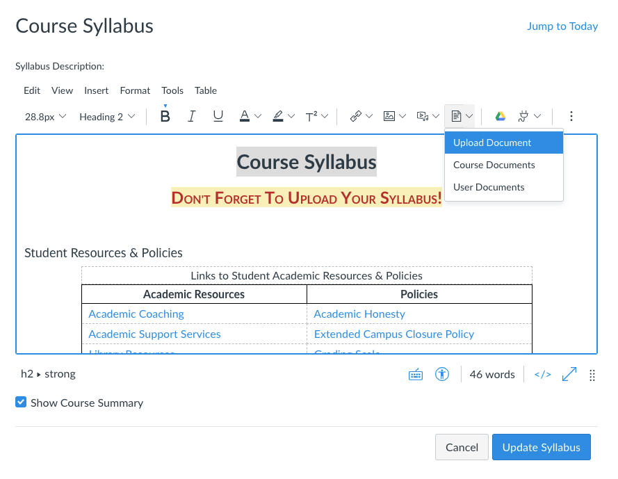"""Syllabus content editor with the phrase """"Course Syllabus"""" highlighted and the document menu open. """"Upload Document"""" is highlighted."""