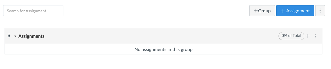 An empty assignment group as seen on the Assignments page in Canvas, showing the + icon for adding an assignment to the group, as well as buttons for adding groups or assignments to the Assignments area in general.