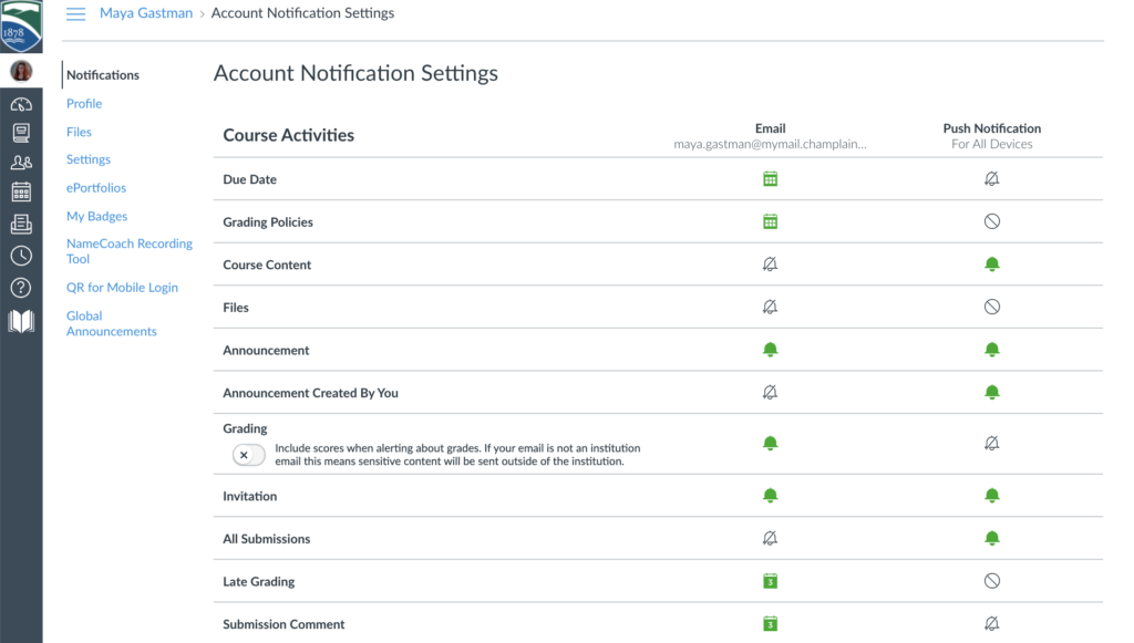 A user's account notifications settings page in Canvas