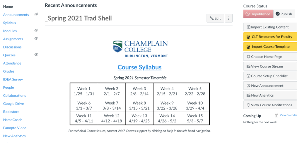Home page from a blank course shell, showing Canvas navigation tools, a course syllabus link, and a course calendar grid.