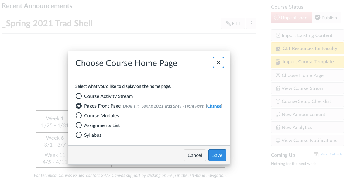 The Canvas home page, showing the Choose Course Home Page popup menu. The menu provides five radio buttons for the different options.