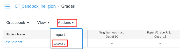 Gradebook with the Actions dropdown and the Export option marked in red