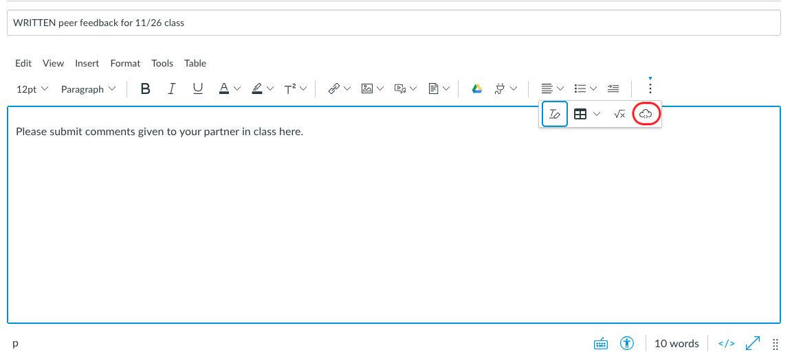 Canvas editor with the three dots (more items) menu open, showing the icon of a cloud circled in red at the far right.