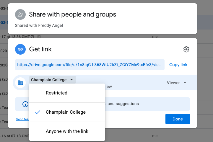 Google Drive sharing pop-up showing link-sharing options